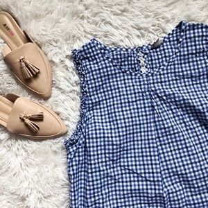 MERONA blue+white gingham sleeveless light top